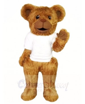 Hairy Bear in White Shirt Mascot Costumes Animal