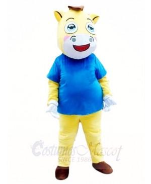 War Horse in Blue Shirt Mascot Costumes Animal
