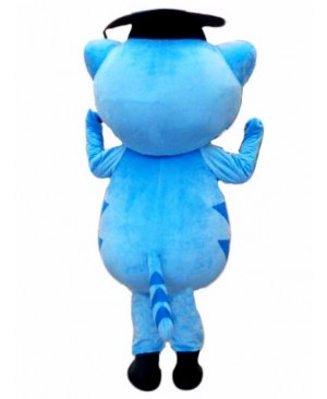 Cute Blue Doctor Cat Mascot Costume