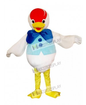 Blue Bow Duck Mascot Costume