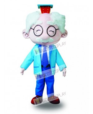 Blue Suit Glasses Old Man Mascot Costume Cartoon
