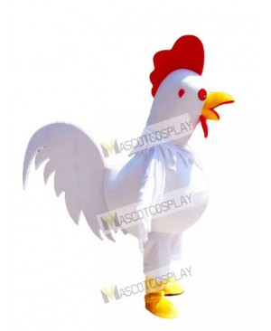 White Cock Rooster Mascot Costume