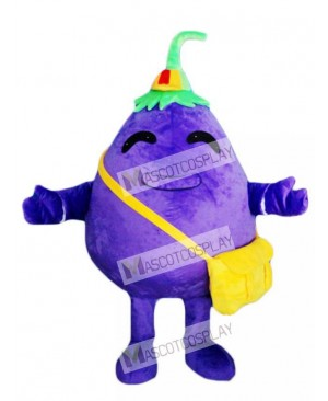 Purple Eggplant Child Vegetable Mascot Costume