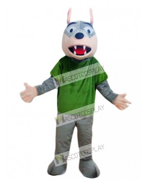 Gray Wolf in Green Shirt Mascot Costume