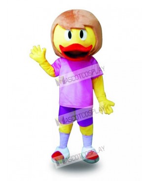 Purple Suit Yellow Duck Mascot Costume