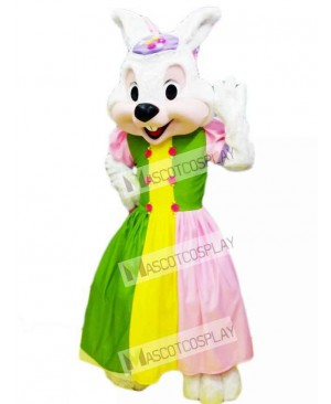 Easter Bunny in Colorful Dress Mascot Costume Animal
