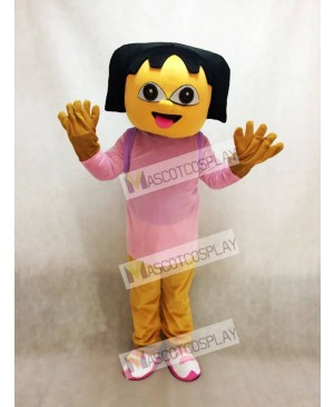Pink Dora With Small Bag Mascot Costume