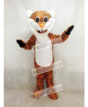 Cute Reddish Brown Stripe Tiger Adult Mascot Costume