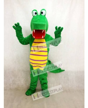 Cartoon Green Crocodile Mascot Costume