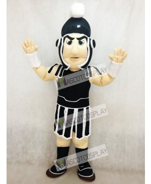 Black and White Spartan Trojan Knight Sparty Mascot Costume
