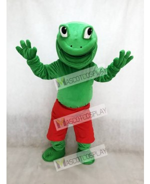 Lovely Green Frog with Red Shorts Mascot Costume Animal