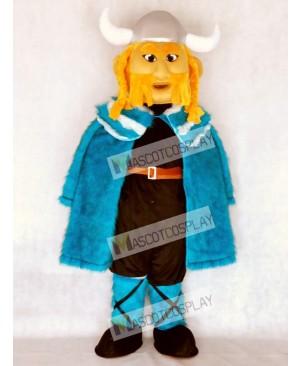 Thor the Giant Viking Mascot Costume with Blue Cloak