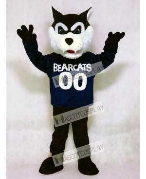 Cute Navy Blue Bearcat Mascot Costume