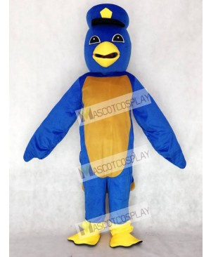 Cute Blue Bird Mascot Costume with Captain Duckling Hat Animal