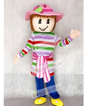 Lovely Colorful Strawberry Shortcake Girl Mascot Costume Cartoon
