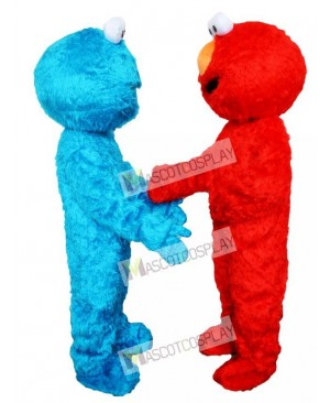 Sesame Street Blue Cookie Monster and Red Elmo Mascot Costumes