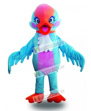 Red Head Blue Swan Bird Mascot Costume