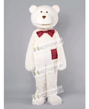 Romantic Bear With Plaid Bow Mascot Costume