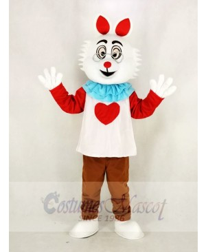 Easter Bunny Rabbit with Glasses In Wonderland Mascot Costume Cartoon