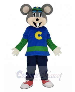 Funny Chuck E. Cheese Mouse with Green Hat Mascot Costume