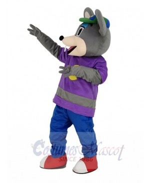 Cute Chuck E. Cheese Mouse with Green Hat Mascot Costume