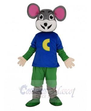 Cute Chuck E. Cheese Mouse in Blue T-shirt Mascot Costume
