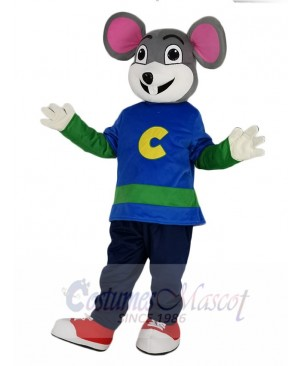 Cute Chuck E. Cheese Mouse with White Face Mascot Costume