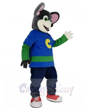 Cute Chuck E. Cheese Mouse with Beige Face Mascot Costume