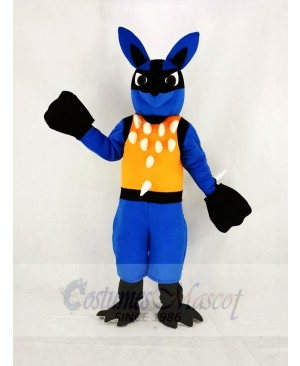 Blue Lucario with Orange Vest Pokémon Pokemon Mascot Costume Cartoon