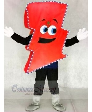 Neon Red Lightning Bolt with Color Trim Mr. Electric Lightning Bolt Mascot Costumes