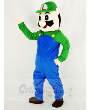 Super Mario Luigi with Green Coat Mascot Costume Cartoon