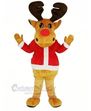 Brown Reindeer with Red Coat Mascot Costume Christmas Xmas