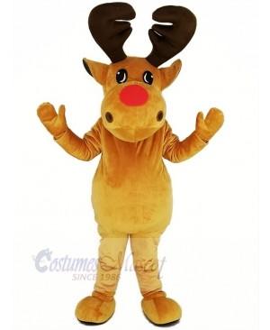 Brown Reindeer Mascot Costume Christmas Xmas