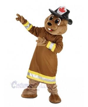 Burny Beaver with Hat Mascot Costume