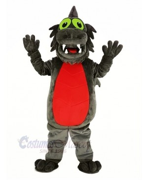 Gray Dragon with Red Belly Mascot Costume Animal