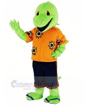 Green Lizard with Orange T-shirt Mascot Costume Cartoon