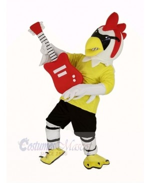 Rooster with Guitar Mascot Costume Animal