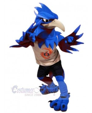 Blue Phoenix Mascot Costume Cartoon
