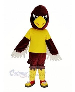 Red Cardinal Bird in Yellow Shirt Mascot Costume