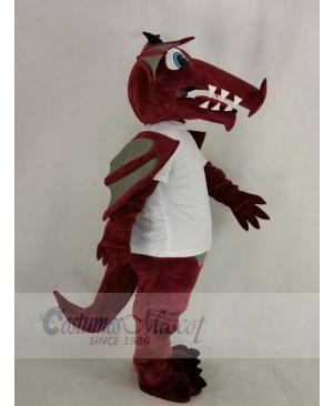 Wine Color Dragon in White T-shirt Mascot Costume