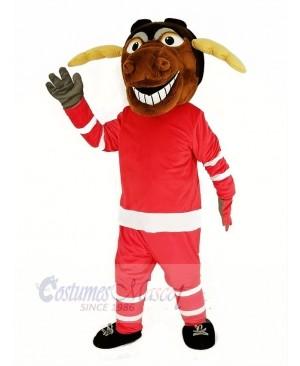 Moose Ice Hockey Player with Red Sweatshirt Mascot Costume