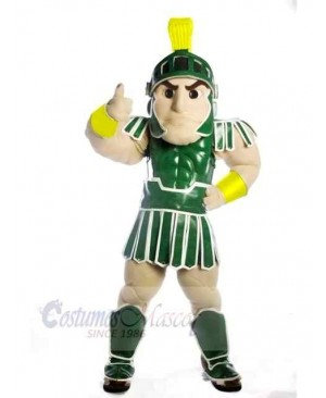 Green Spartan Trojan Knight Sparty with Shield Mascot Costume People