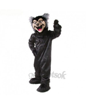 Cute Black Wolf Mascot Costume