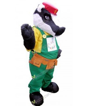 High Quality Adult Gray Badger Mascot Costume in Red Hat