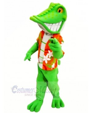 Smiling Green lizard Mascot Costume Cartoon