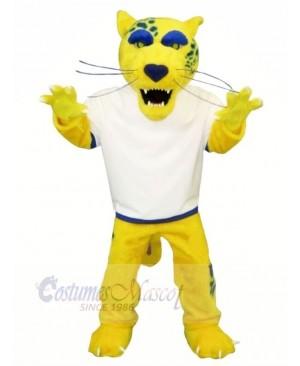 Yellow Jaguar with White T-shirt Mascot Costumes