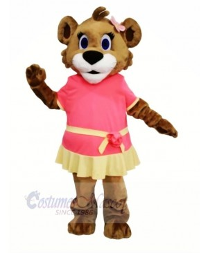 Female Lion with Dress Mascot Costumes Cartoon