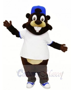 Smiling Beaver with White T-shirt Mascot Costumes Animal