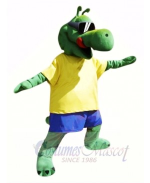 Cool Alligator with Yellow T-shirt Mascot Costumes Animal