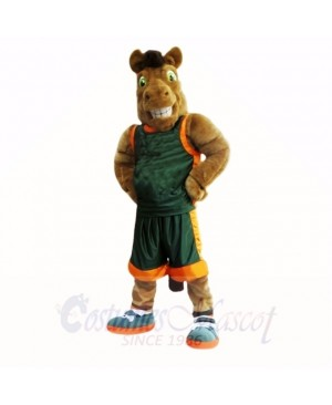 Sport Brown Horse with Green Shirt Mascot Costumes Adult